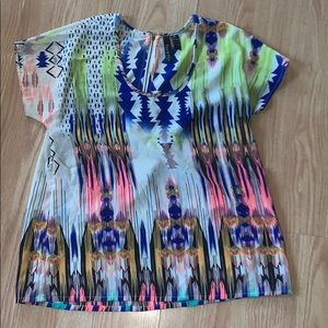 Fun and Flirt neon aztec print top shirt medium